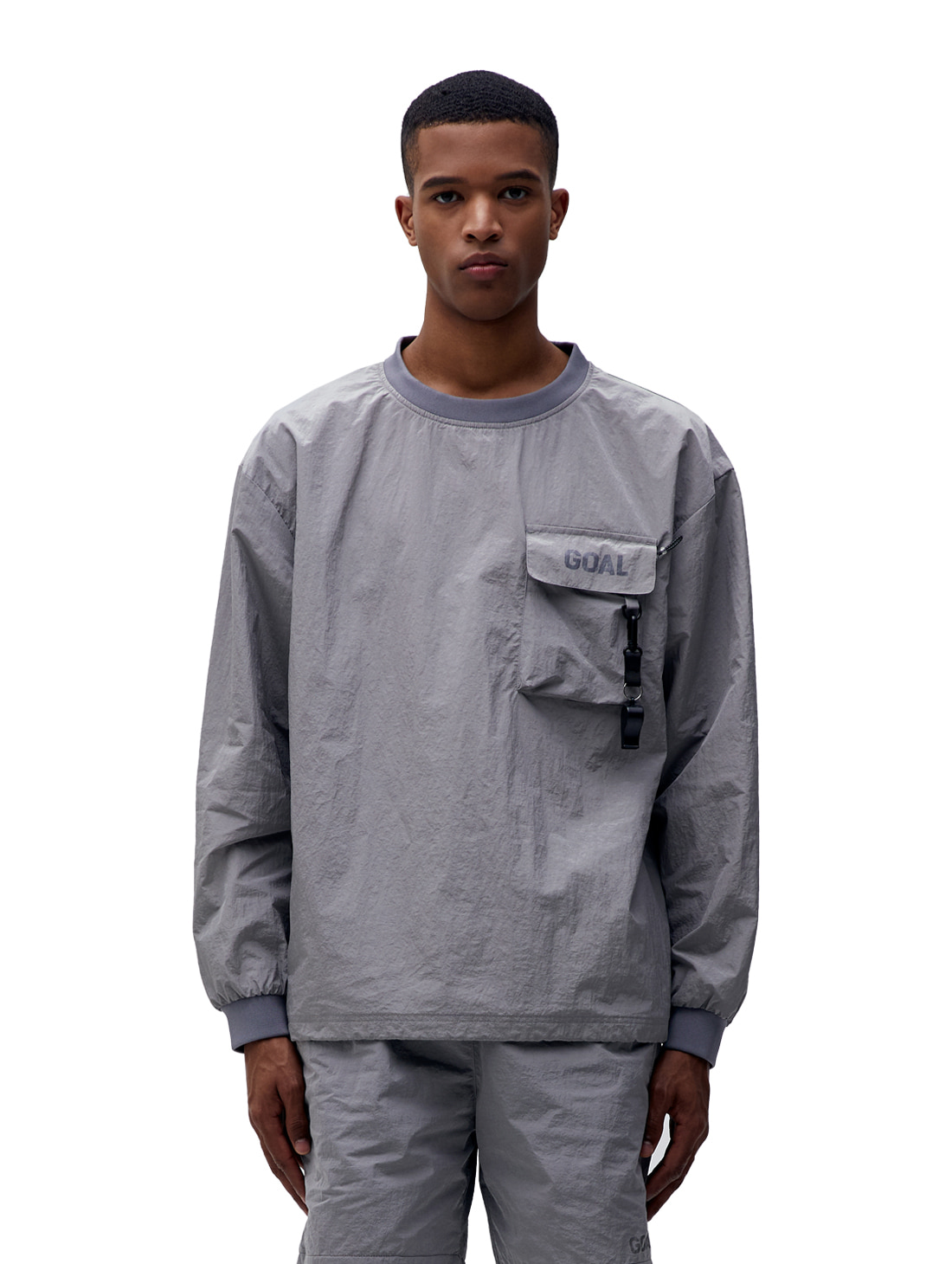 NYLON METAL POCKET LONG SLEEVE TEE - GREY