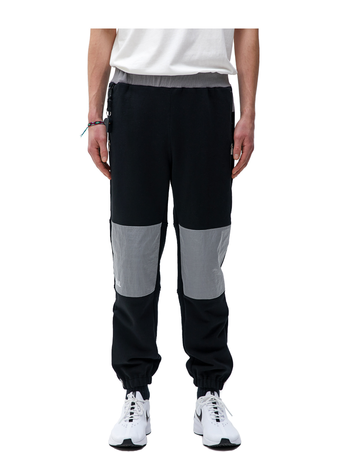 NYLON METAL MIXED TRACK PANTS - BLACK