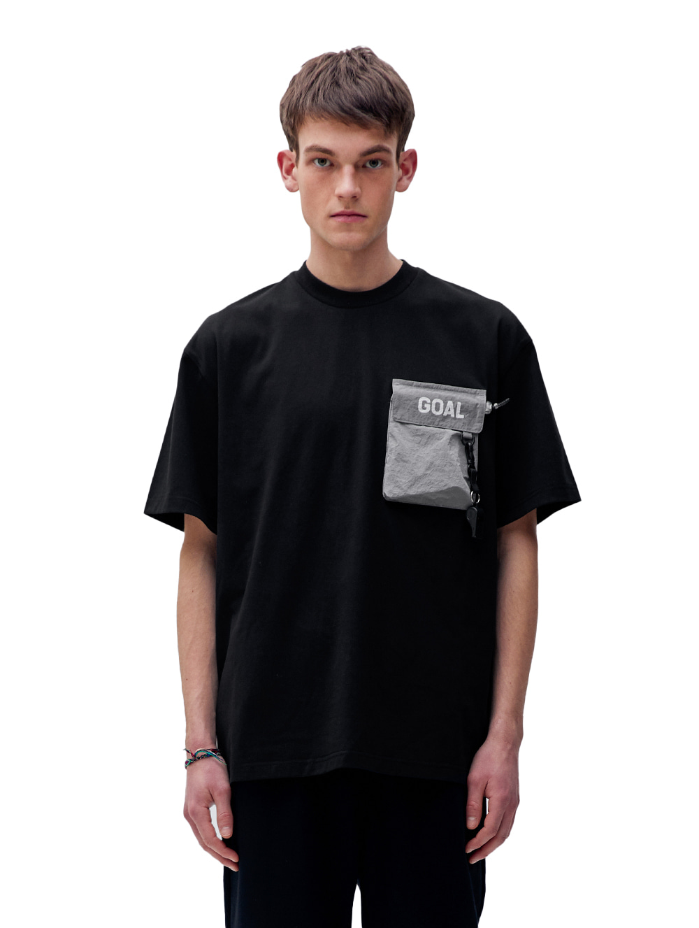 NYLON METAL POCKET SHORT SLEEVE TEE - BLACK