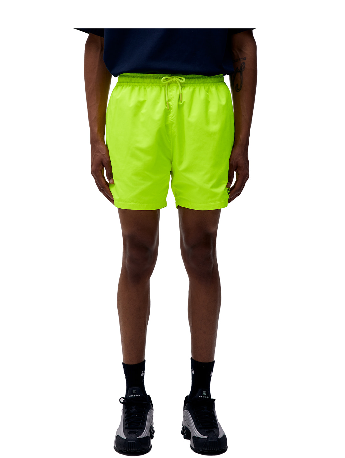 (Sold Out) SOLID WOVEN SHORTS - LIME YELLOW