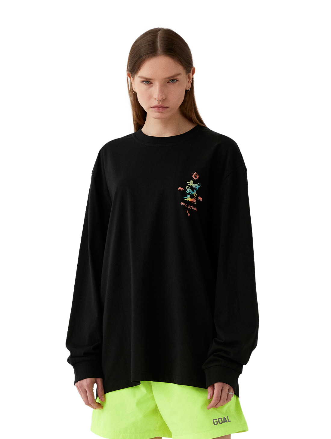 MC EMBLEM GRAPHIC LONG SLEEVE TEE - BLACK