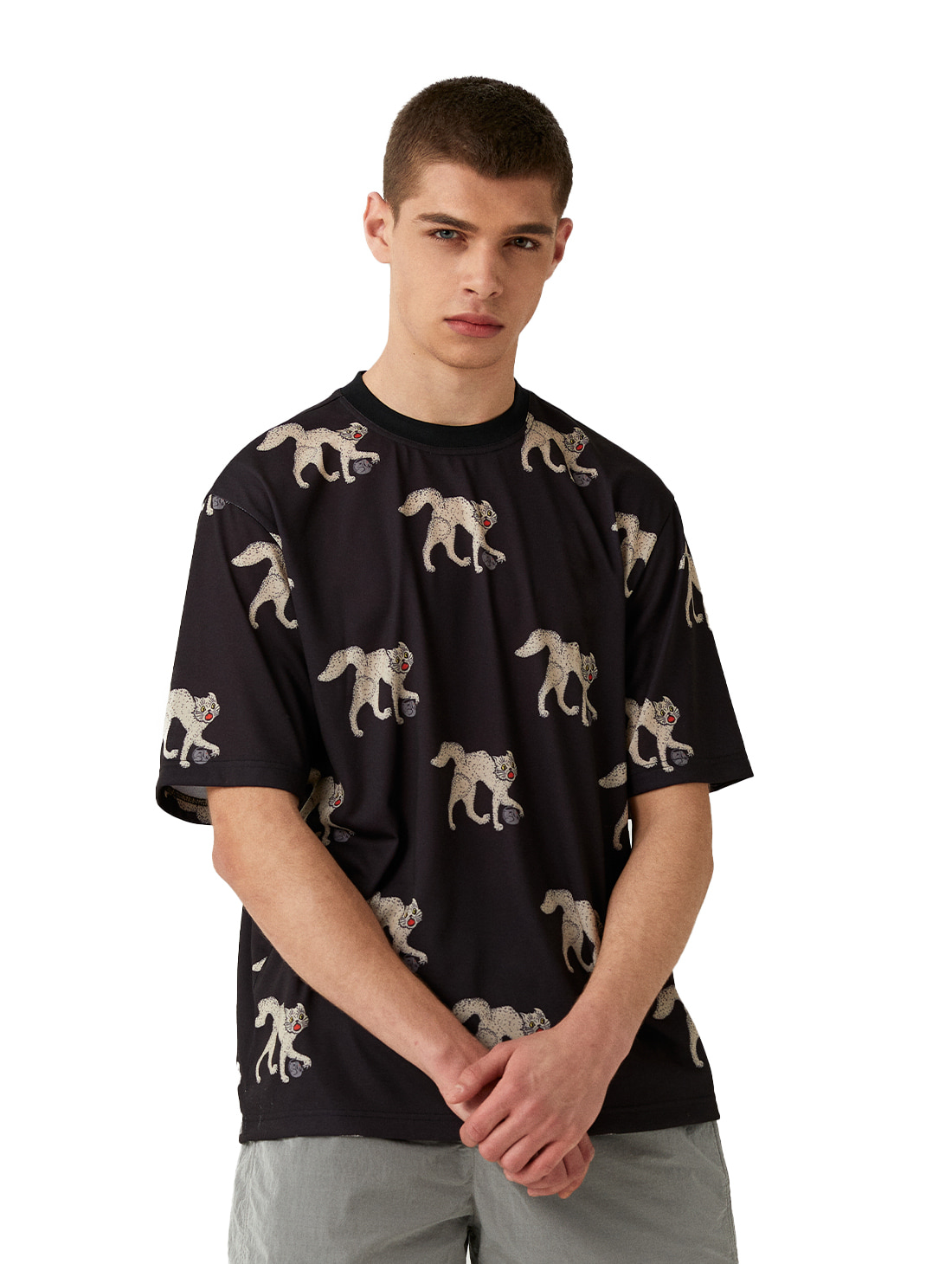 MC ALL OVER PATTERN TEE - BLACK