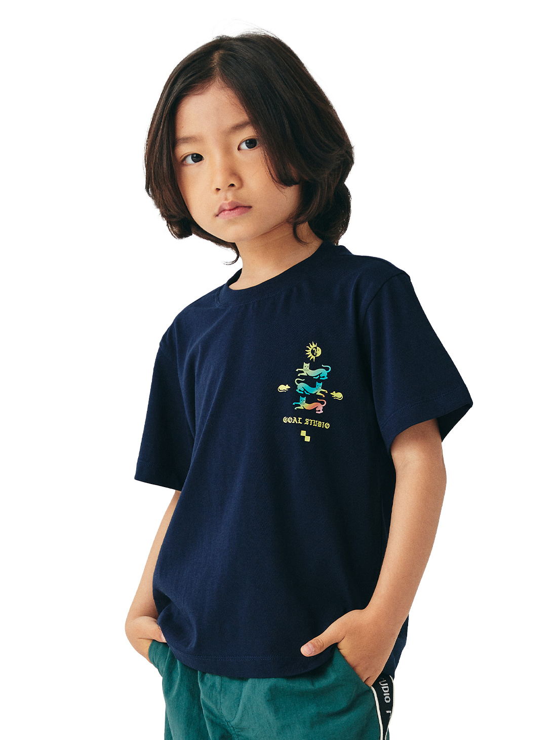 (KIDS) MC EMBLEM GRAPHIC TEE - NAVY