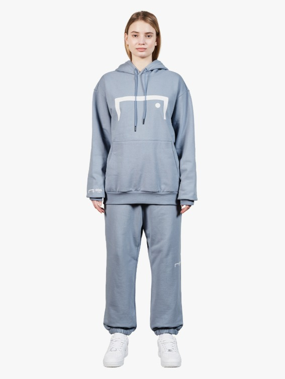 [10% OFF] SIGNATURE LOGO HOODIE & PANTS SET - BLUE GREY