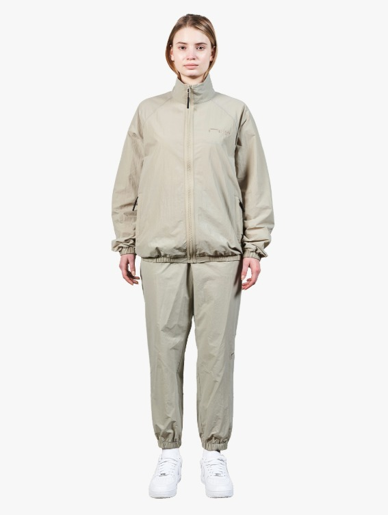 [10% OFF] LOGO EMBROIDERY JACKET & JOGGER PANTS SET - BEIGE