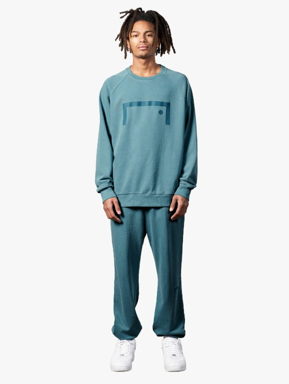[10% OFF] PIGMENT DYE SWEATSHIRT & JOGGER PANTS SET - BLUE