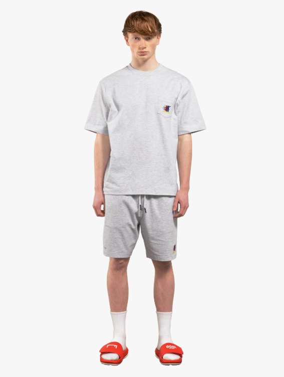 [10% OFF] FREE KICK CAPSULE POCKET TEE & JERSEY SHORTS SET - MELANGE GREY