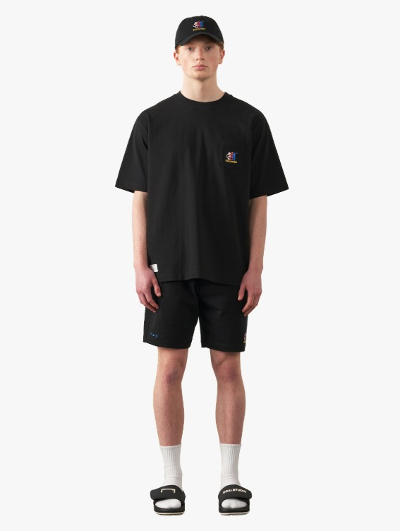 [10% OFF] FREE KICK CAPSULE POCKET TEE & JERSEY SHORTS SET - BLACK